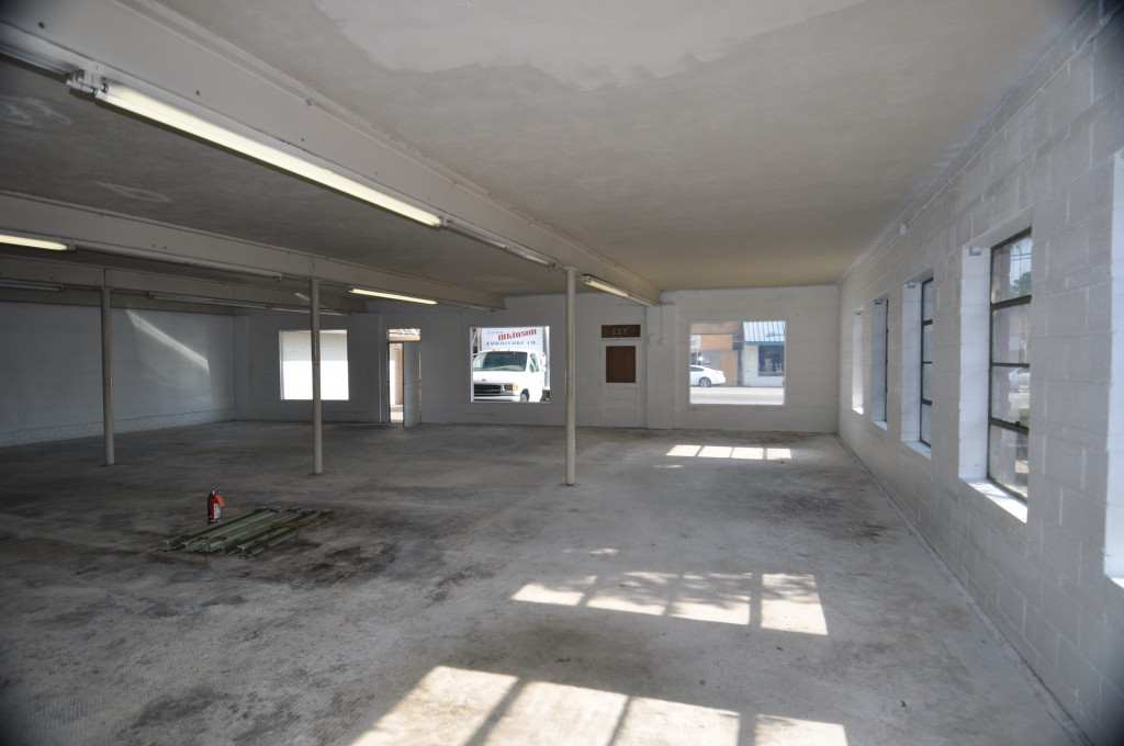 Interior of the future coworking space at 726 Haywood Road.
